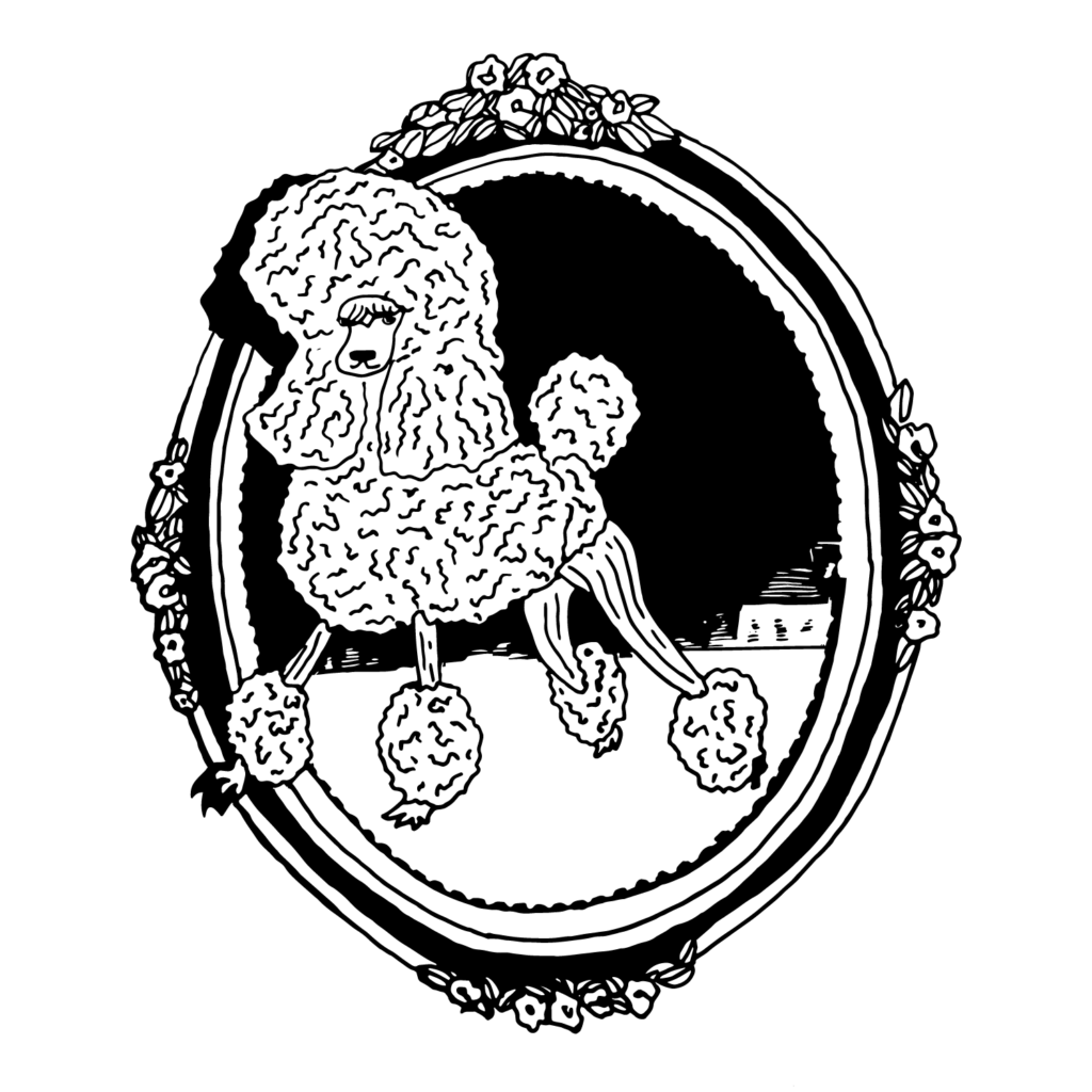 An illustration of a poodle inside an intricate, oval picture frame.