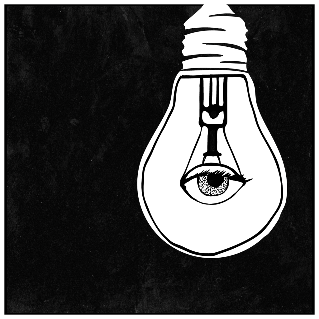 An illustration of a lightbulb with an eye for the filament.