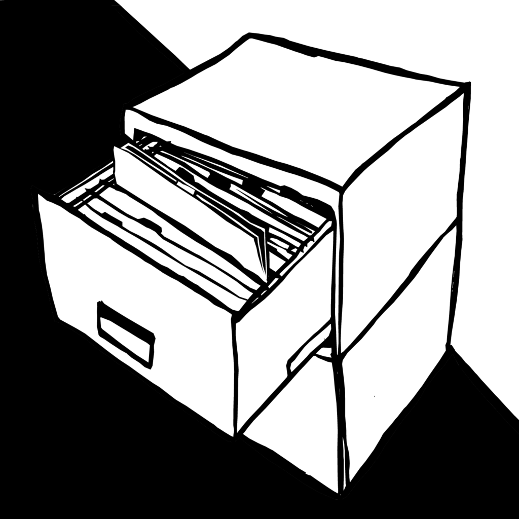 An illustration of a filing cabinet with an open drawer, one file raised above the others.