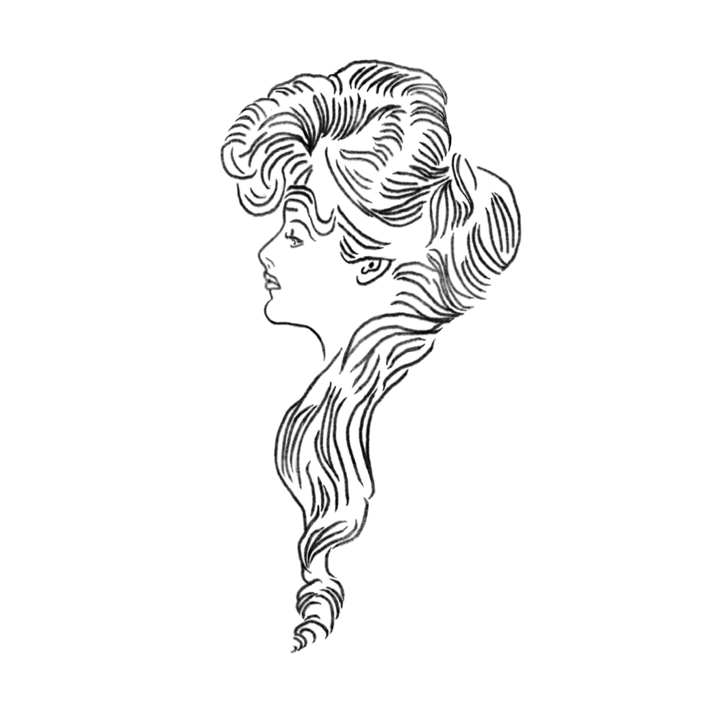 A line-art portrait in profile of a Gilded Age woman with long, flowing hair.