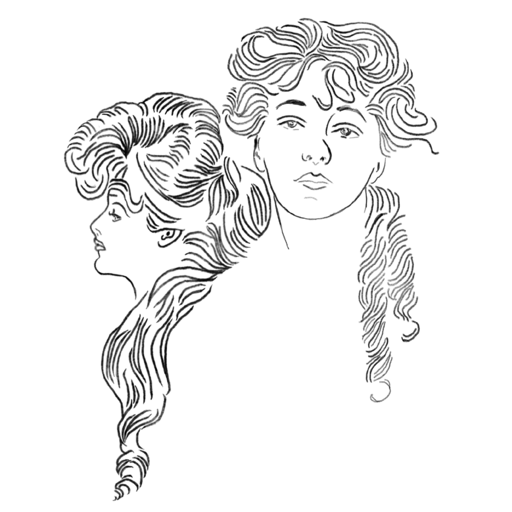 A line art portrait of two women of the Gilded Age, one in profile with long flowing hair, and the other facing forward.