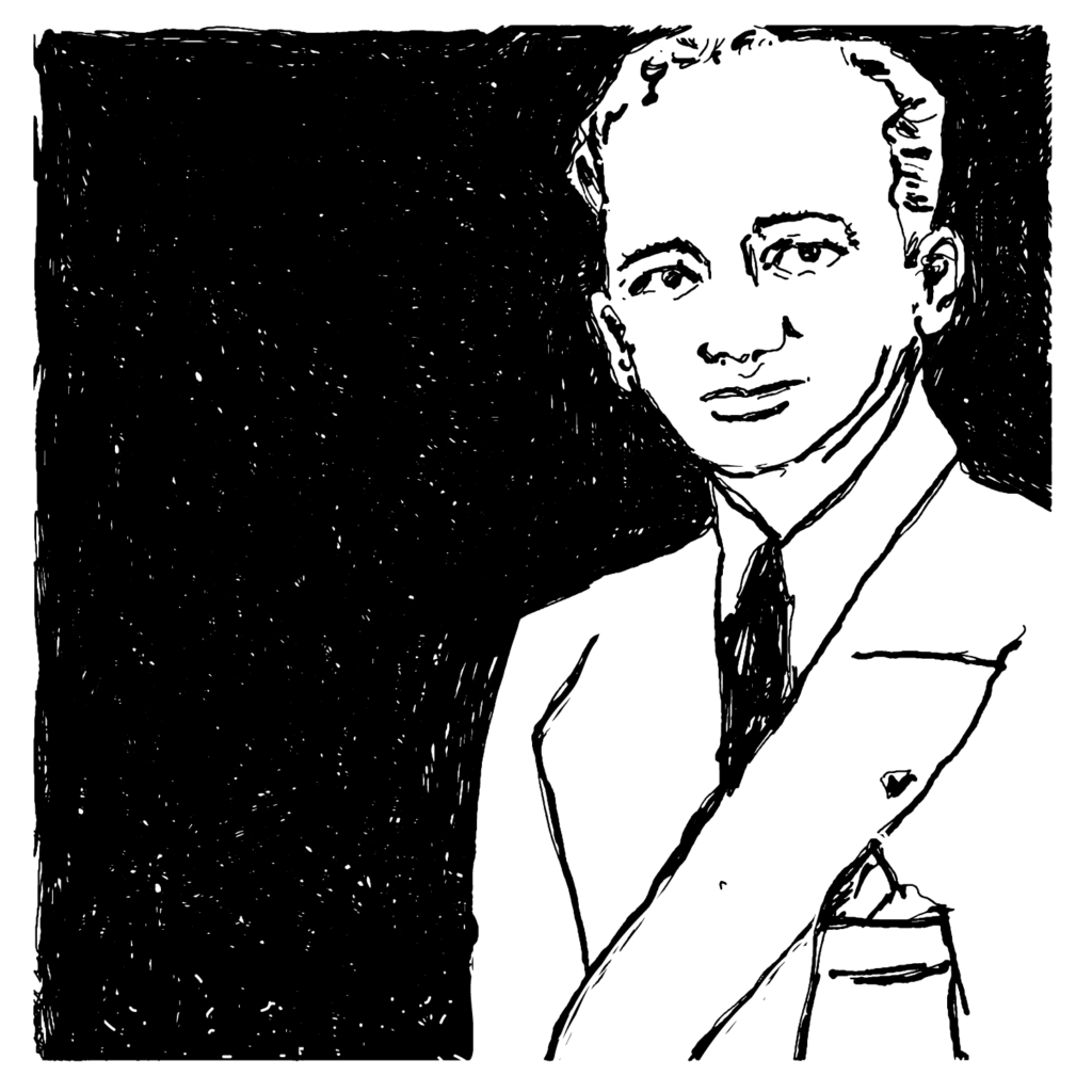 An illustrated portrait of Benjamin Ferencz.
