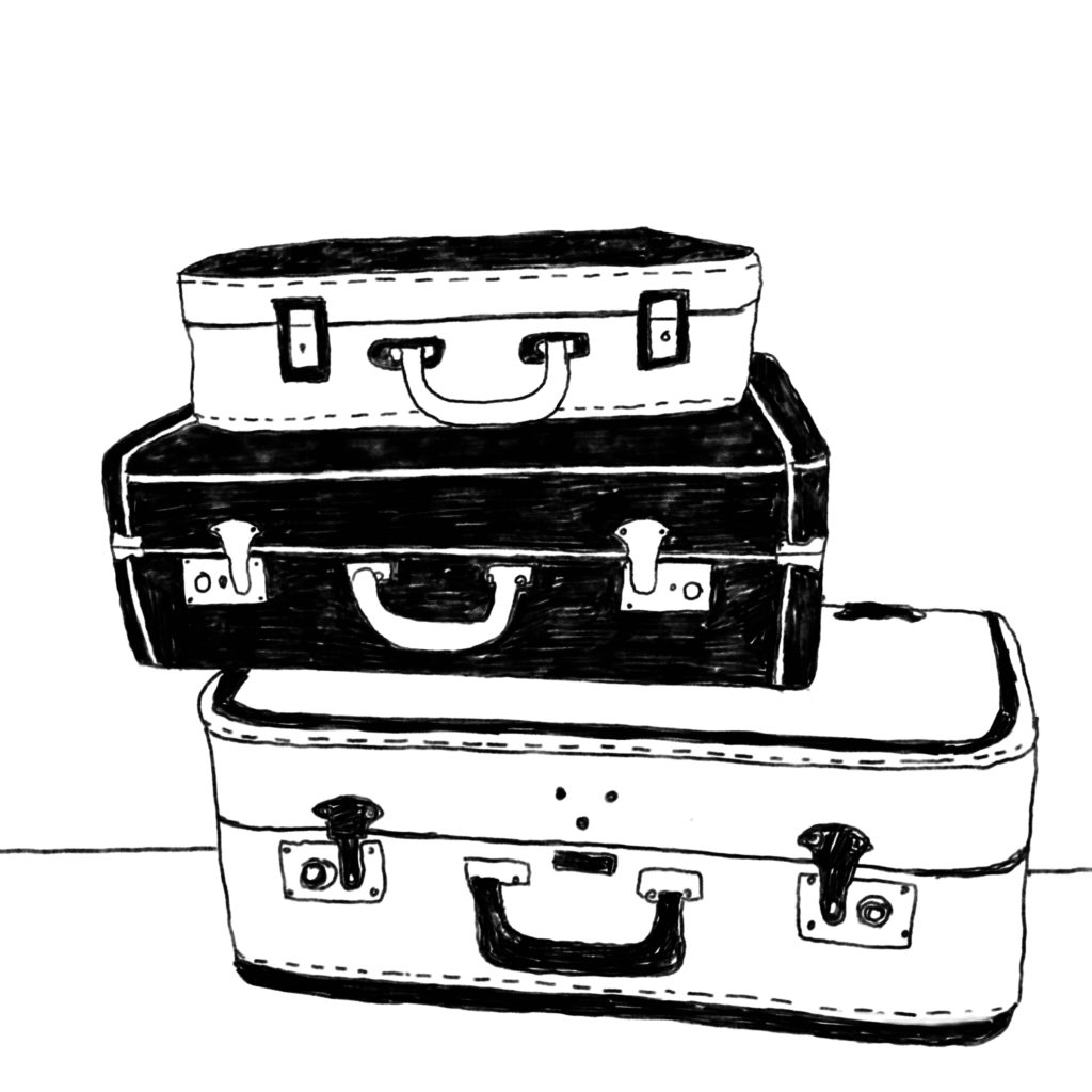 An illustration of three old-fashioned suitcases.