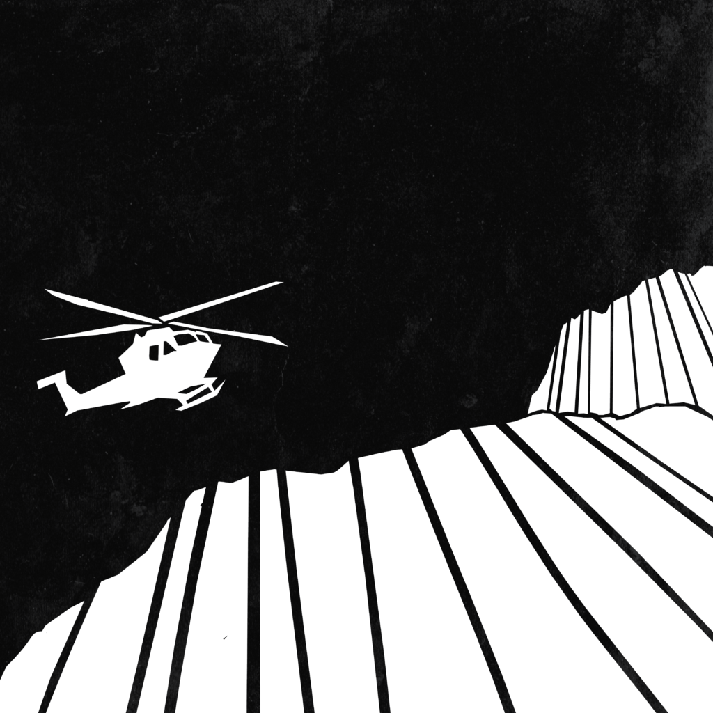An illustration of a helicopter flying over clifftops.