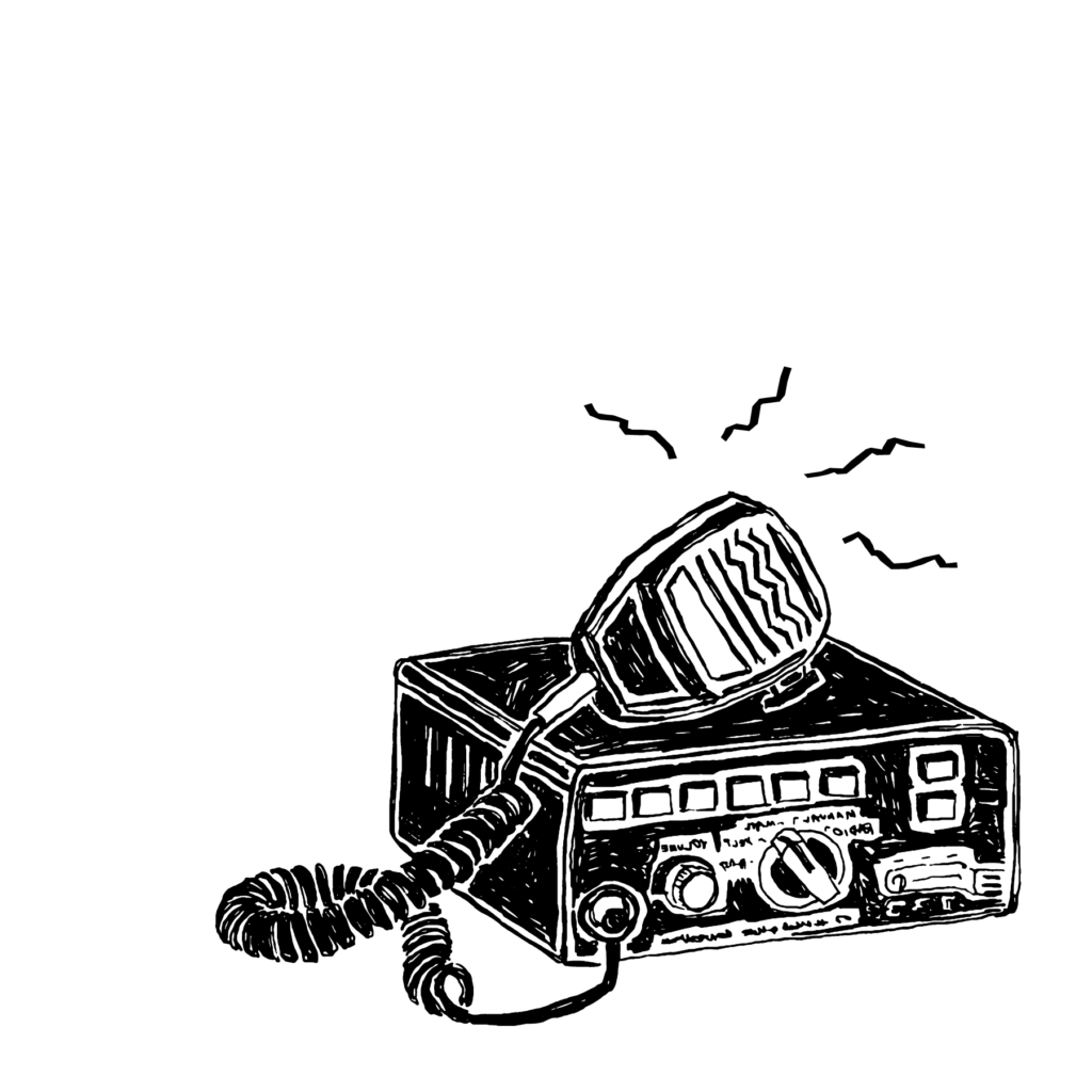 An illustration of a police scanner.