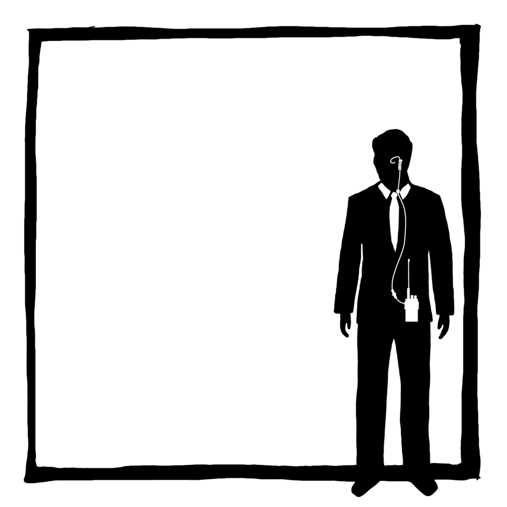 An illustration of a person wearing a suit and a concealed recording device.