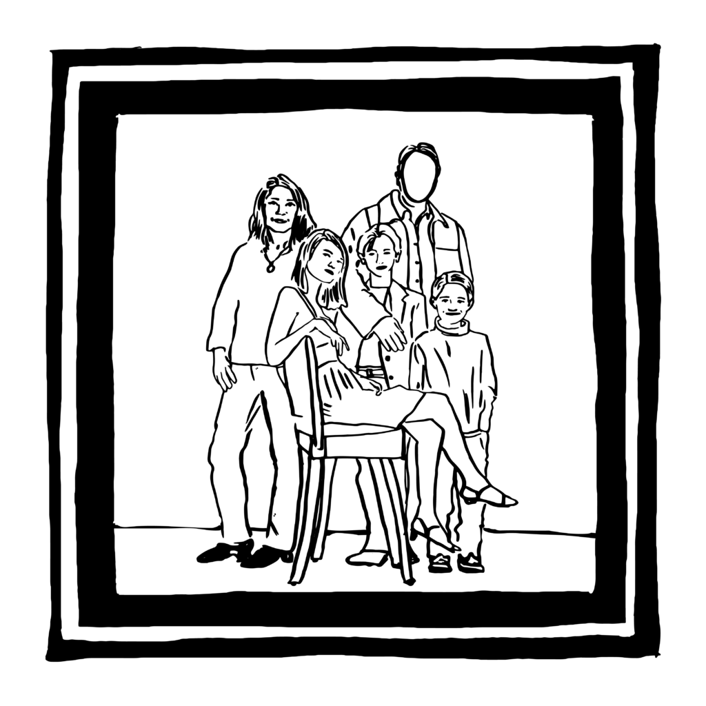 An illustration of a family portrait with the father's face left blank.