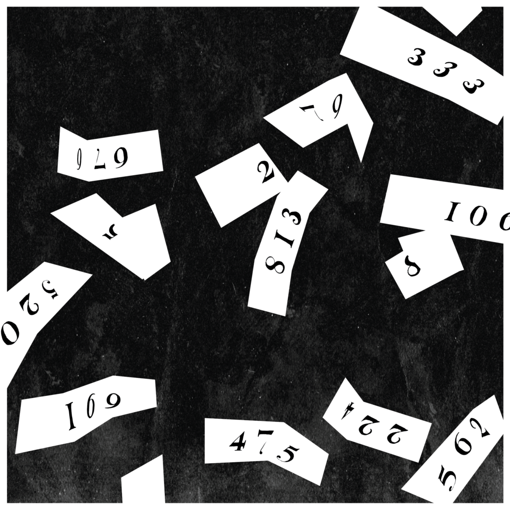 An illustration of little scraps of paper with numbers on them, scattered about.
