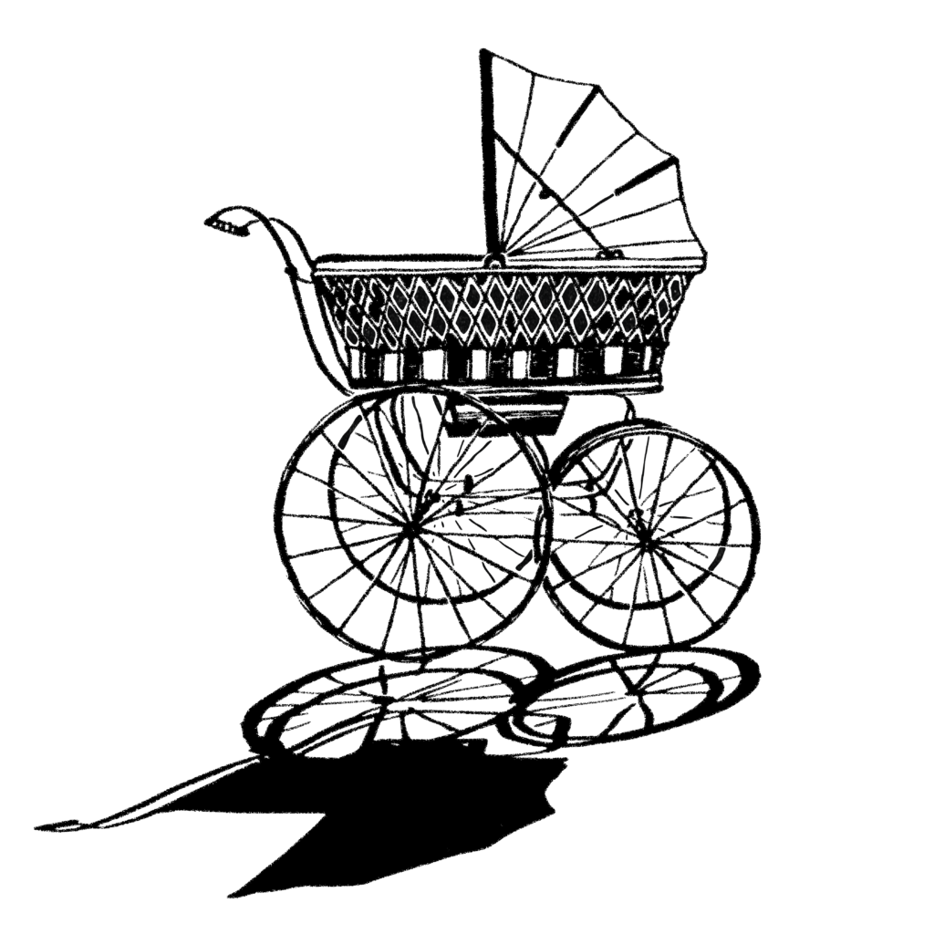 An illustration of an empty, abandoned pram.