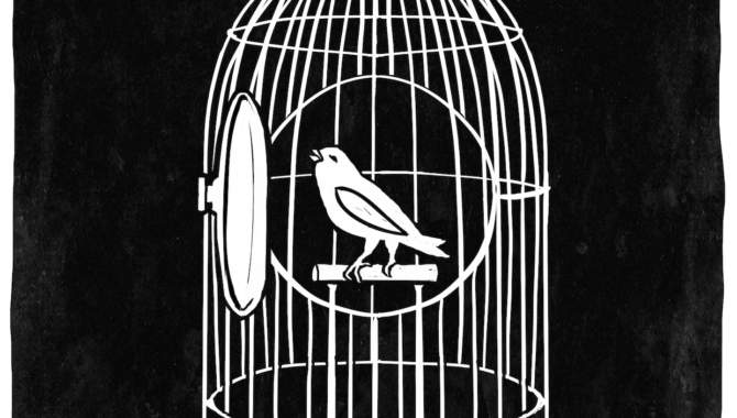 An illustration of a bird in a cage, the door open.