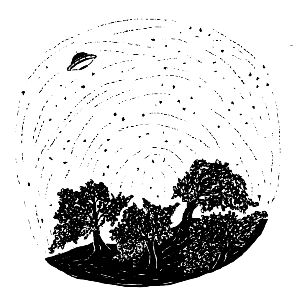An illustration of the earth with the stars in the sky, and a UFO hovering over the ground.