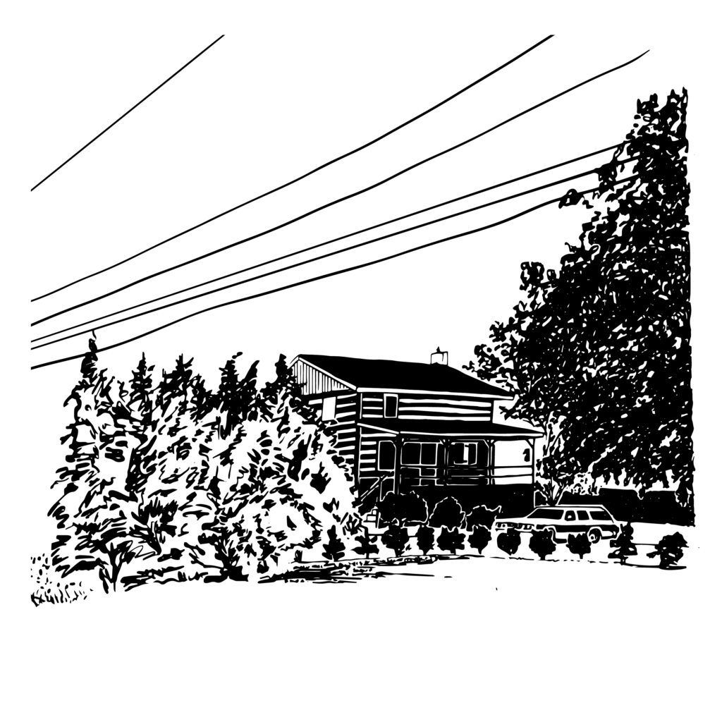 An illustration of a cabin amongst some trees, telephone wires overhead.