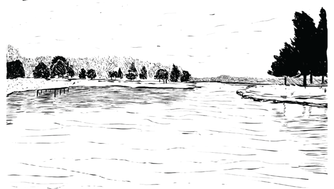 An illustration of a lake, with trees on the shore.