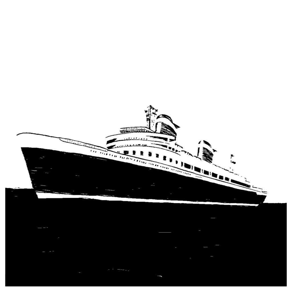 An illustration of a cruise ship at sea.