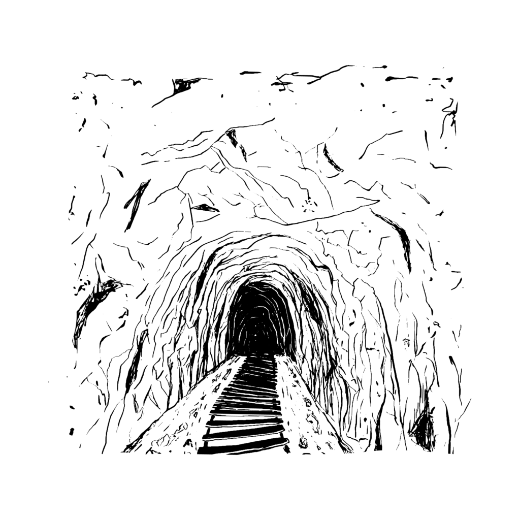 An illustration of a tunnel with train tracks going through it.