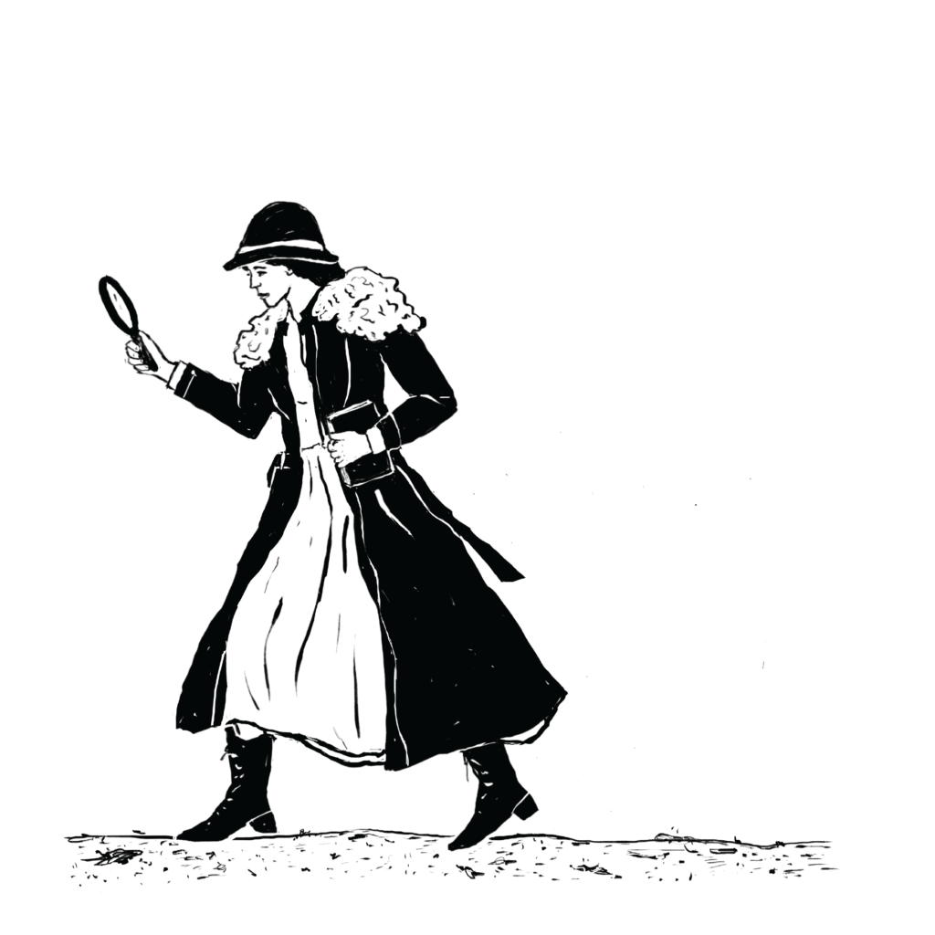 An illustration of a woman in a dress with a long coat and boots, walking, and peering through a magnifying glass.