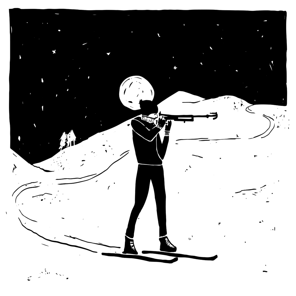 An illustration of a biathlete on cross-country skis, rifle lifted to her eye.