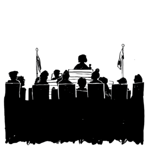 An illustration of a courtroom.