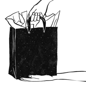 An illustration of two hands holding a gift bag-style bag that holds a container of cremated human remains.