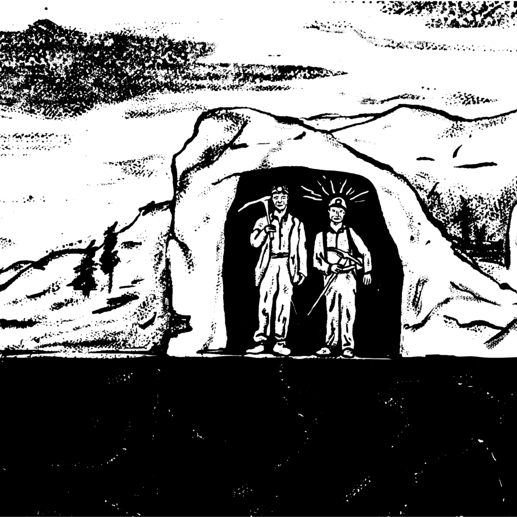 An illustration of two miners standing at the entrance of a mine.