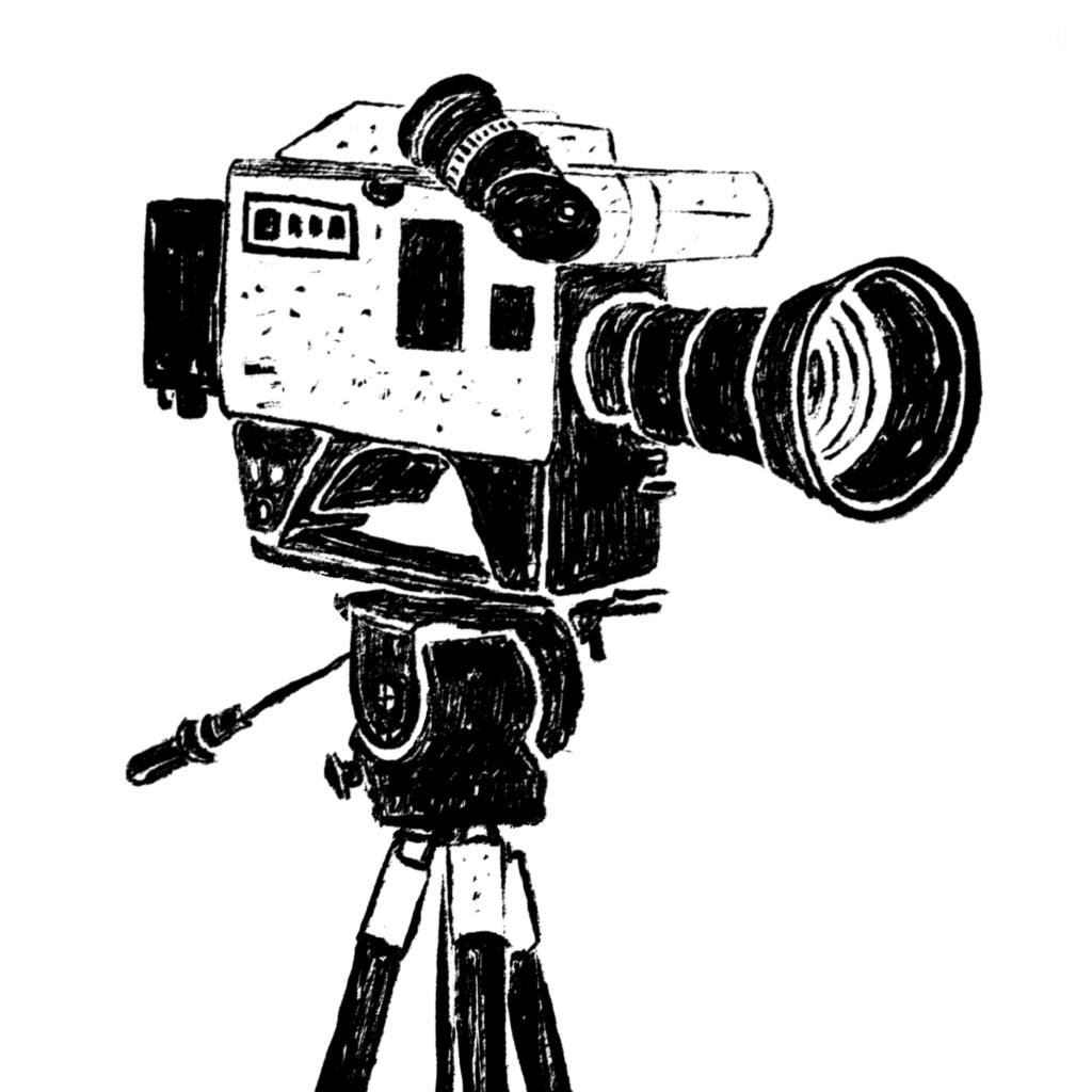 An illustration of a news camera on a tripod.