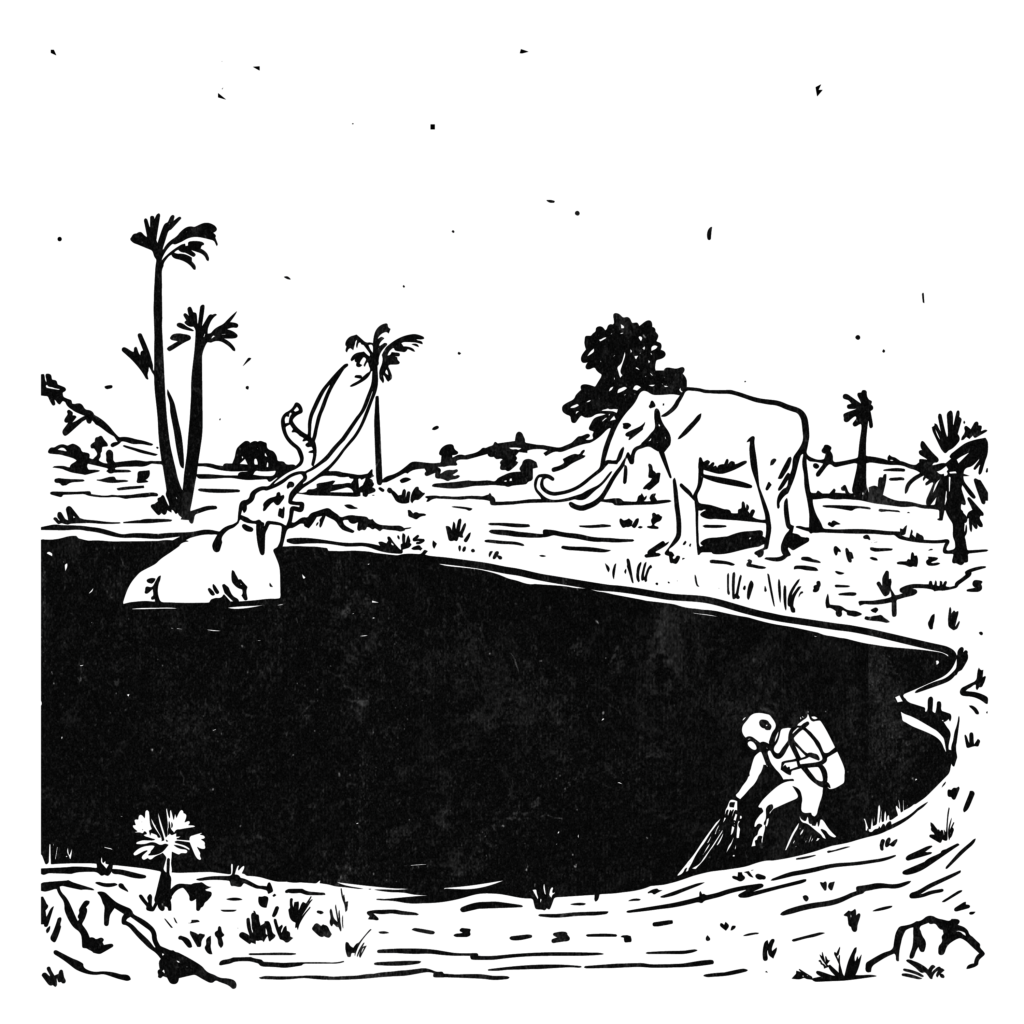 An illustration of two woolly mammoths and a scuba diver entering a tar pit.