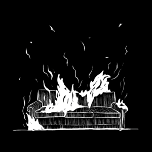 An illustration of a couch on fire.