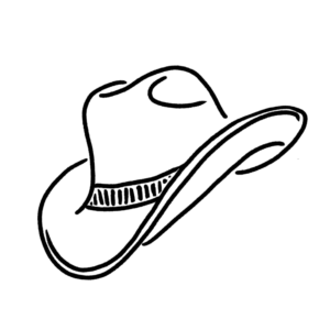 An illustration of a cowboy hat.