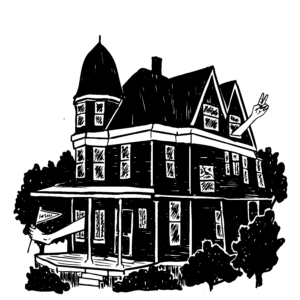 An illustration of an old Victorian mansion with a foot sticking out the front door, and a hand sticking out the back window.