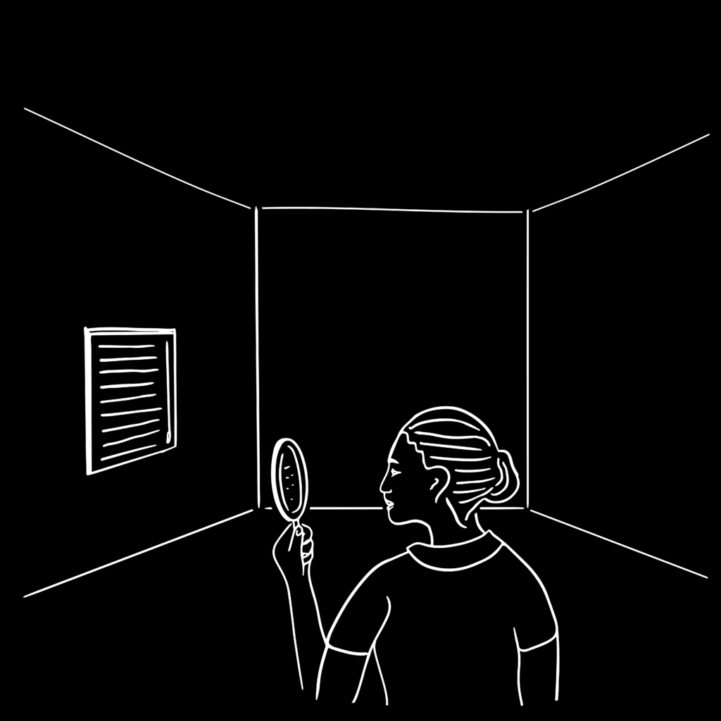 An illustration of a young girl in an empty room with a magnifying glass.