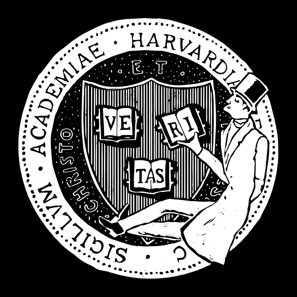 Illustration: Harvard's circular insignia with three books open, each page bearing one of the letters of Veritas. A man in a long coat and top hat sits at the bottom of the circle, holding the book with the R and I of Veritas.