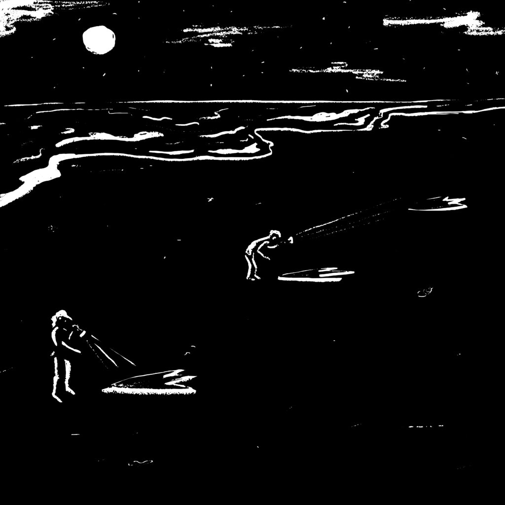 Black and white illustration of 2 people standing on the beach with flashlights, examining mysterious 3-toed footprints, underneath a full moon