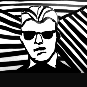 Black and white digital illustration of a talk show host who looks semi-robotic. Text: Criminal, Episode 153: The Max Headroom Incident.