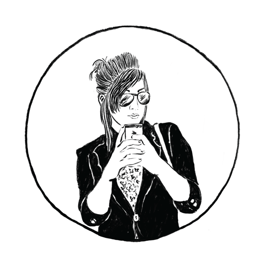 Black and white sketch of a woman wearing sunglasses and a blazer taking a mirror selfie.