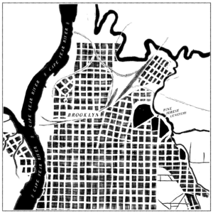 Illustration of a map of Wilmington, North Carolina, with the Brooklyn neighborhood and Pine Forest Cemetery labeled.