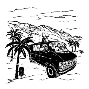 A man driving a surveillance van with a dish on top, with a woman in the passenger seat looking out the window. There are mountains in the background and palm trees in the foreground, as well as a small hedgehog standing beside one of the trees.