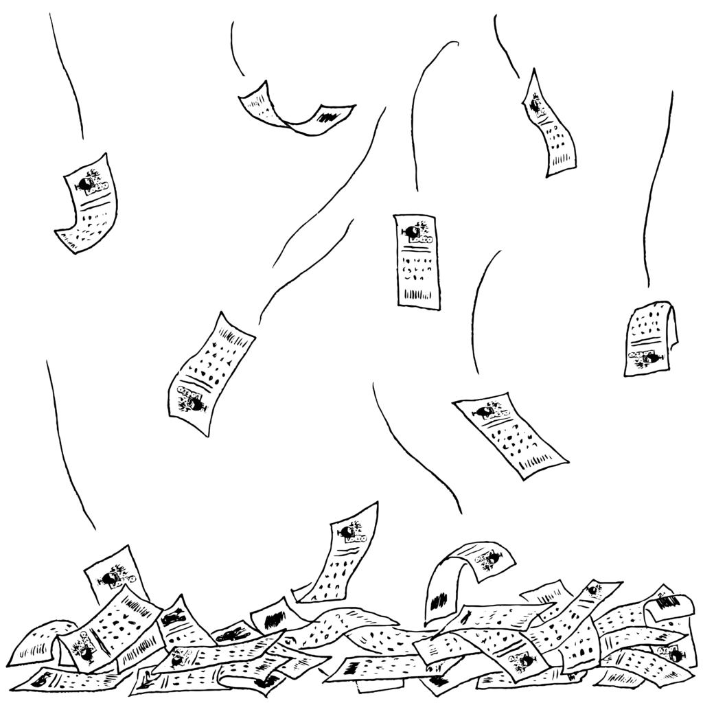 Black and white illustration showing lottery tickets piling up at the bottom of the frame, with more tickets floating down to meet them.