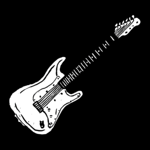 Illustration of Fender electric guitar in white, with a black background