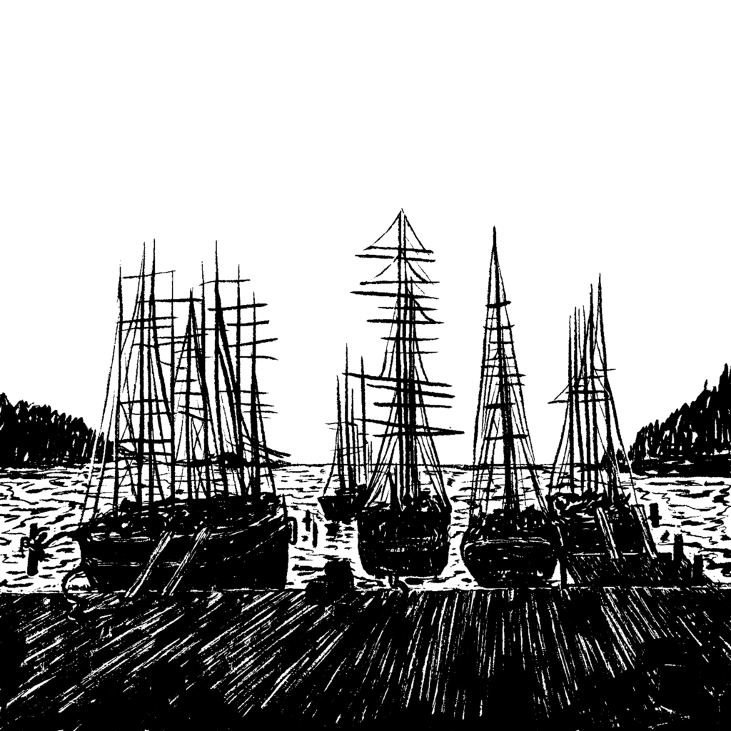 Digital illustration of huge old ships at a port, with a hint of mountains around them. The docks have lumber piles ready to be loaded.