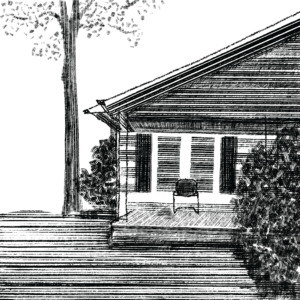 Black and white digital illustration of the outside of a house, with a porch and a single chair sitting empty.