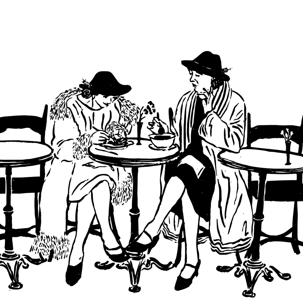 Black and white sketch of two women wearing furs and hats, sitting at a round café table eating lunch.