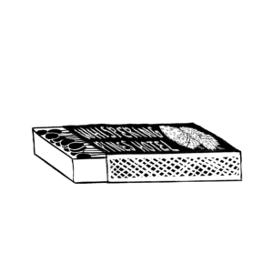 """Black and white sketch of a slightly open box of matches, with """"Whispering Pines Hotel"""" on the lid, and two pine trees standing next to each other."""