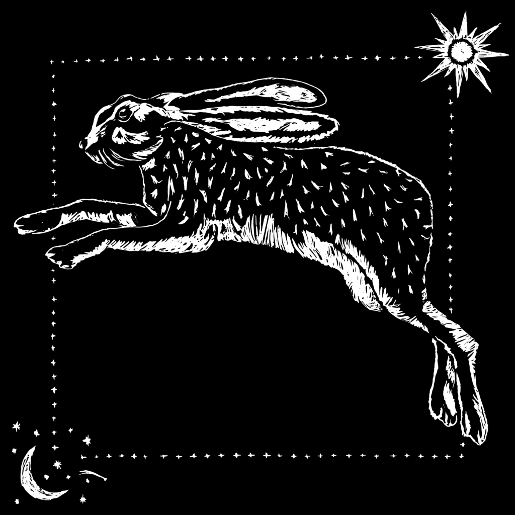 White sketch of a rabbit leaping in front of a black background, with a crescent moon surrounded by stars in the bottom left corner and a sun in the upper right corner