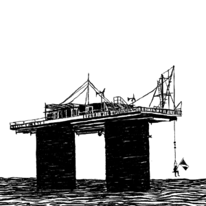 """Black and white illustration of an old World War Two sea fort, also known as the """"Principality of Sealand."""" The fort is a small building on a platform above two very wide columns standing in the ocean. A person is sitting on a swing hanging from the fort's platform, holding a flag."""